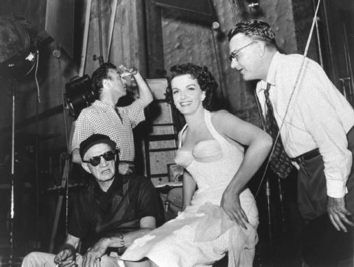 Lloyd Bacon (left) with Jane Russell.
