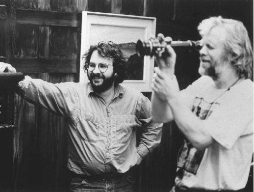 Peter Jackson (left) on the set of Heavenly Creatures