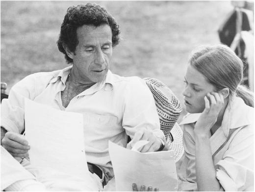 Arthur Penn with Melanie Griffith on the set of Night Moves