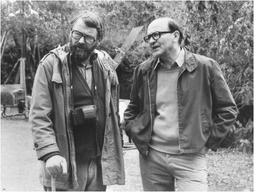 Karel Reisz (left) and John Fowles on the set of The French Lieutenant's Woman