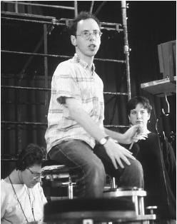 Todd Solondz on the set of Welcome to the Dollhouse