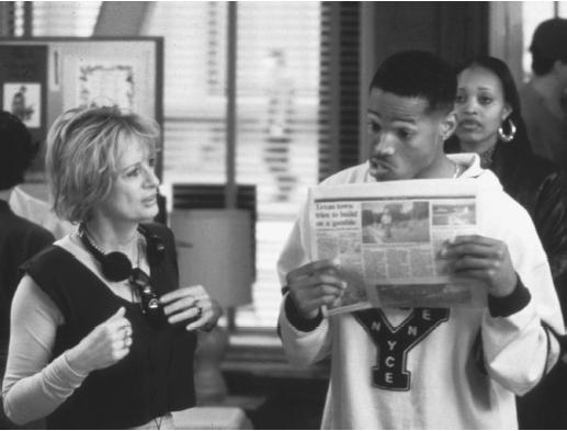 Penelope Spheeris with Marlon Wayans on the set of Senseless