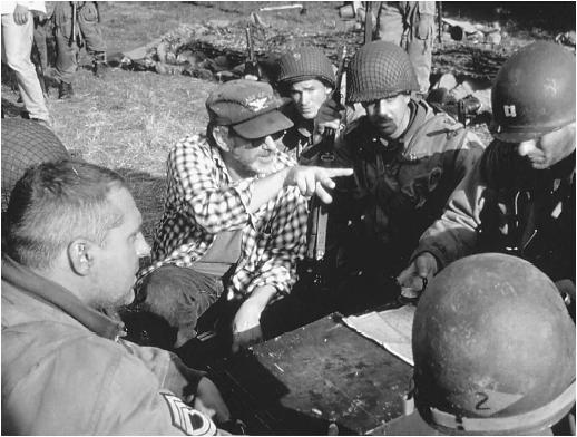Steven Spielberg (second from left) on the set of Saving Private Ryan