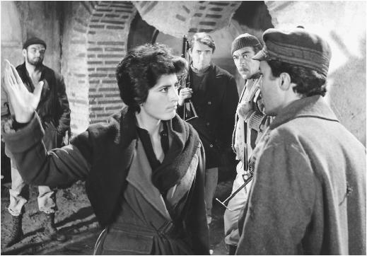 Stanley Baker (left) with Irene Papas, Gregory Peck, Anthony Quinn, and James Darren in The Guns of Navarone
