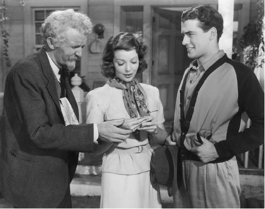 Walter Brennan with Loretta Young and Richard Greene in Kentucky