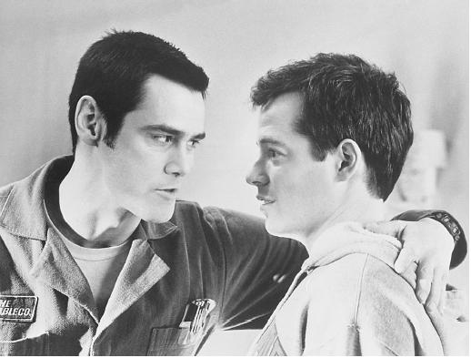 Matthew Broderick (right) with Jim Carrey in The Cable Guy