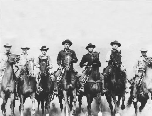 Horst Buchholz (thrid from left) in The Magnificent Seven