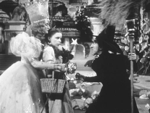 Billie Burke (left) with Judy Garland (center) and Margaret Hamilton in The Wizard of Oz