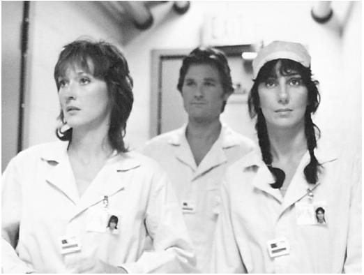 Cher (right) with Meryl Streep and Kurt Russell in Silkwood