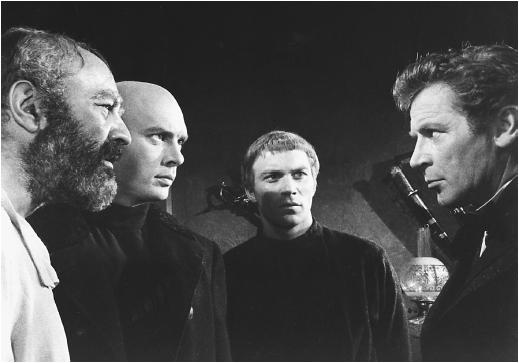Lee J. Cobb, Yul Brynner, William Shatner, and Richard Basehart in The Brothers Karamazov