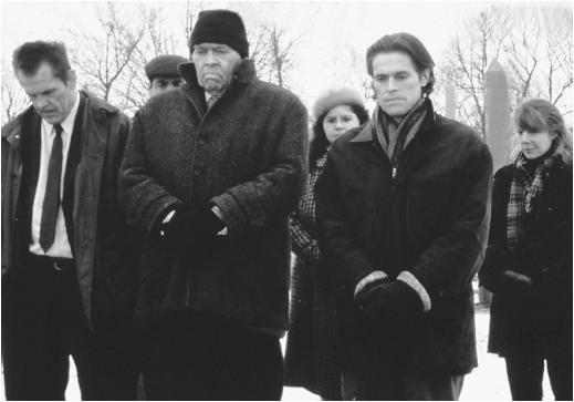 James Coburn (second from left) with Nick Nolte, Willem Dafoe, and Sissy Spacek in Affliction