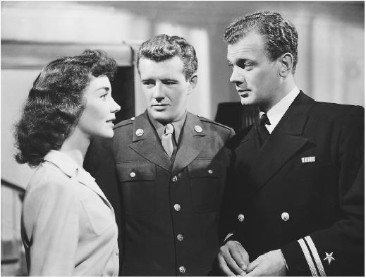 Joseph Cotten (right) with Jennifer Jones and Robert Walker in Since You Went Away
