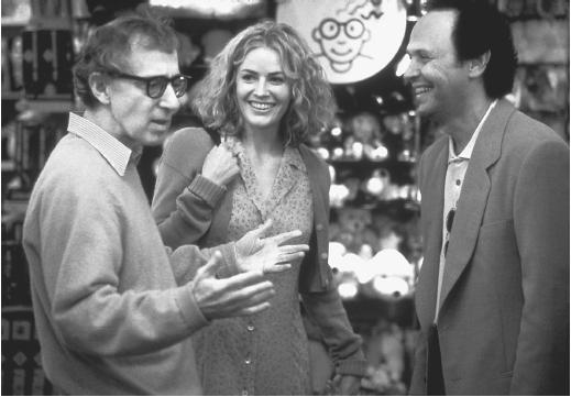 Billy Crystal (right) with Woody Allen and Elizabeth Shue in Deconstructing Harry