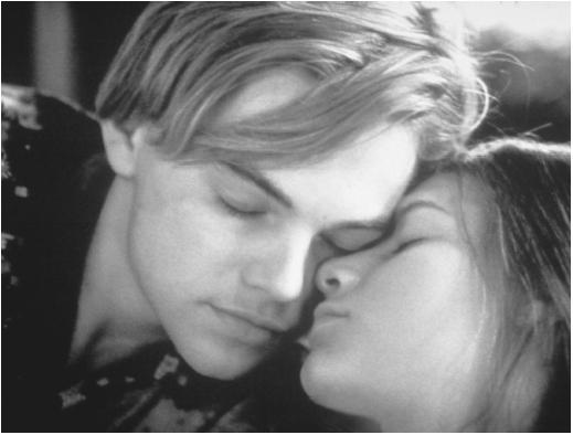 Leonardo DiCaprio with Claire Danes in Romeo + Juliet