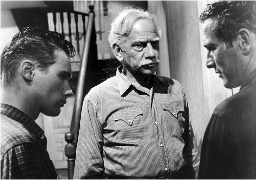 Melvyn Douglas (center) with Brandon DeWilde and Paul Newman (right) in Hud