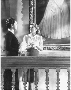 Joan Fontaine (right) with Judith Anderson in Rebecca