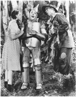 Judy Garland, Jack Haley, and Ray Bolger in The Wizard of Oz