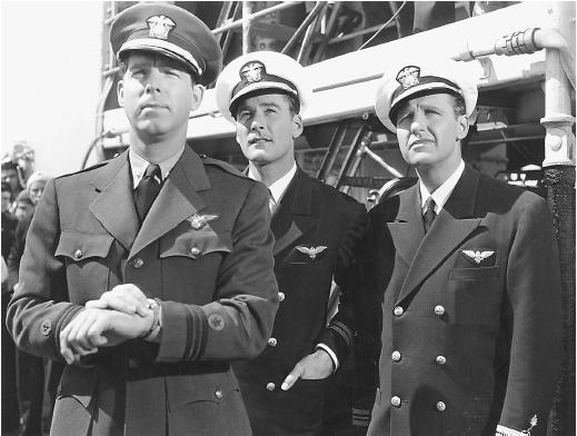 Fred MacMurray (left) with Errol Flynn and Ralph Bellamy (right) in Dive Bomber