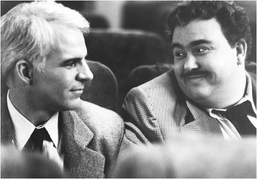 Steve Martin (left) with John Candy in Planes, Trains and Automobiles