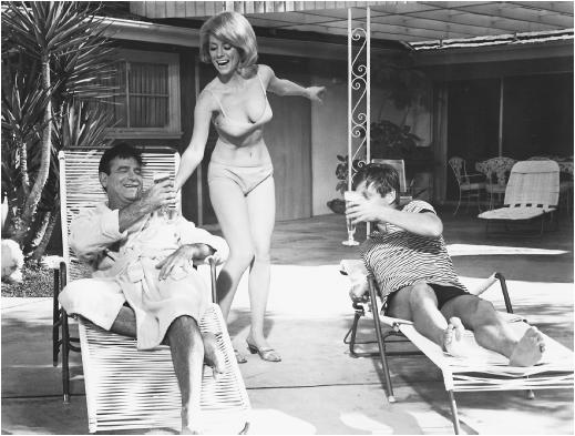 Walter Matthau (left) with Inger Steven and Robert Morse in A Guide for the Married Man