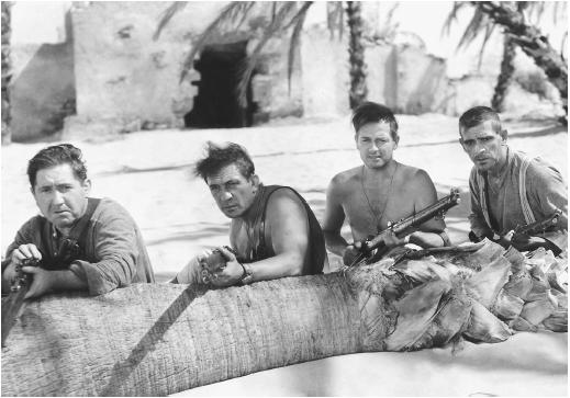 Victor McLaglen (second from left) in The Lost Patrol