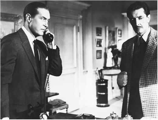 Ray Milland (left) in Dial M for Murder