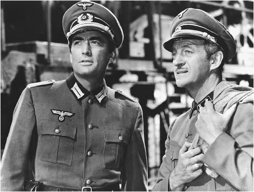 David Niven (right) with Gregory Peck in The Guns of Navarone