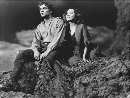 Merle Oberon and Laurence Olivier in Wuthering Heights