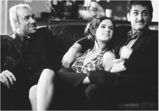 Sean Penn (right) with Anna Paquin and Kevin Spacey in Hurly Burly