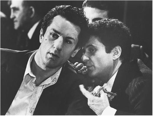 Joe Pesci (right) with Robert De Niro in Raging Bull
