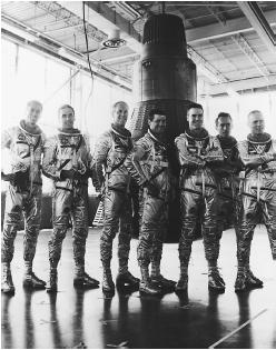Dennis Quaid (third from right) in The Right Stuff