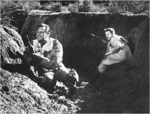 Mickey Rooney (right) with William Holden in The Bridges at Toko-Ri