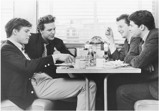 (From left) Kevin Bacon, Mickey Rourke, Daniel Stern, and Timothy Daly in Diner