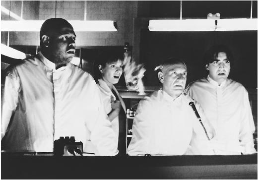 Forest Whitaker (left) with Susan Bartkowiak, Ben Kingsley, and Alfred Molina in Species