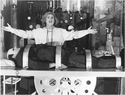 Gene Wilder (standing) with Peter Boyle in Young Frankenstein