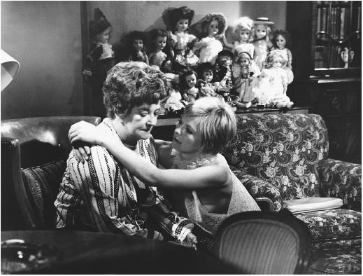 Susannah York (right) with Beryl Reid in The Killing of Sister George