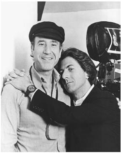 Nestor Almendros (left) with Dustin Hoffman