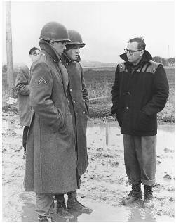 Carl Foreman (right) on the set of The Victors